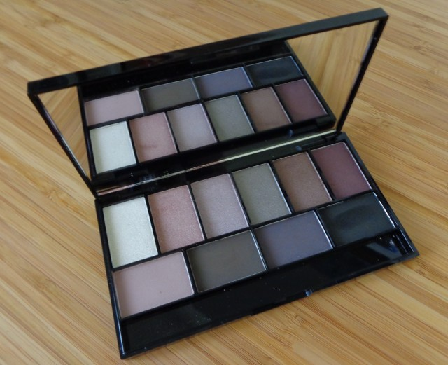 MUA Luxe - Pretty Edgy eyeshadow palette.  The top row includes 6 shimmer shades and the bottom row includes 4 mattes.