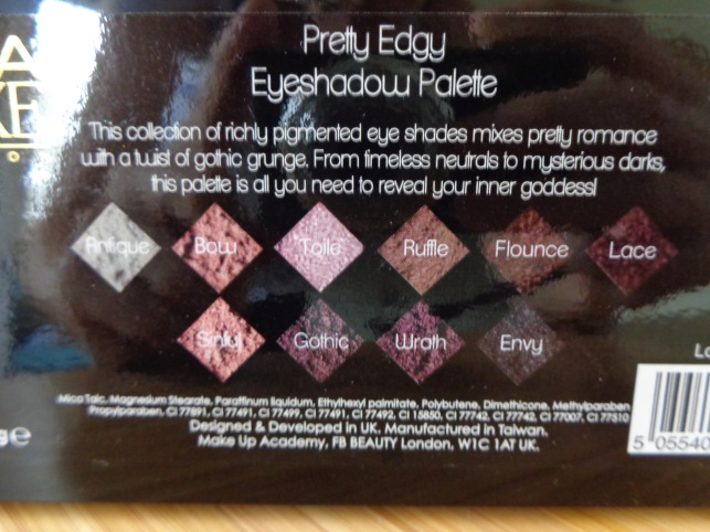 MUA Luxe - Pretty Edgy eyeshadow palette: shade names