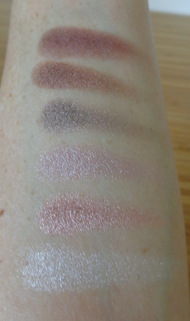 MUA Luxe - Pretty Edgy eyeshadow palette shimmer shade swatches.  From bottom to top: Antique, Bow, Toile, Ruffle, Flounce and Lace.