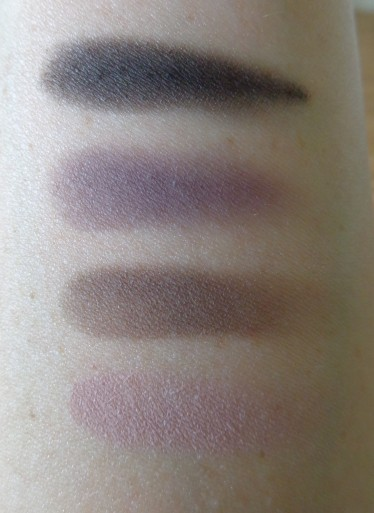 MUA Luxe - Pretty Edgy eyeshadow palette matte shade swatches.  From bottom to top: Sinful, Gothic, Wrath and Envy