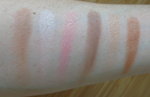 Makeup Revolution Ultra Sculpt & Contour Kit.  Swatches 1-3: Light; swatches 4-6: Light-Medium.