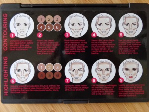 Contouring instructions are provided on the back of the AC on Tour: Contouring and Highlighting Kit.