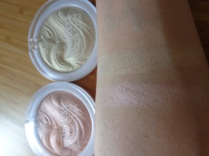 swatches: Iridescent Gold (top), Pink Shimmer (bottom)