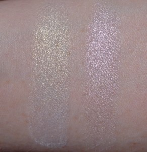 MUA Undress Your Skin Highlighting Powder swatches: Iridescent Gold and Pink Shimmer