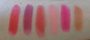 Lip Geek swatches: Total Diva, Totally NOT boring!, Dare to be Different, Marshmallow Kiss, Barbie is Jealous, Pucker Up and Kiss it.