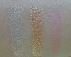 Swatches: Gecko - Pearlized Finish, Snakebite - Metallic Finish, Sand Swoon - Satin Luxe Finish.