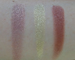Swatches: Prickly Pear - Metallic Finish, Mirage - Pearlized Finish, Hot Tamale - Satin Luxe Finish.
