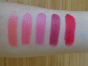 Pro Lipstick Swatches: Juicy, Pink Lust, Flushed, Adorn, Red Wine.