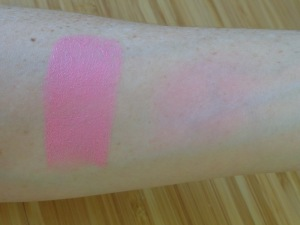 Pink swatches: direct from the stick on the left, and a smaller, blended swatch on the right.