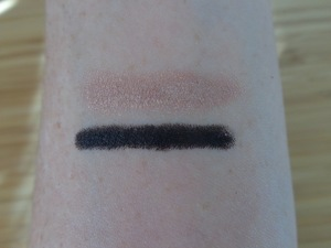 closeup swatches of Champagne and Pitch Black