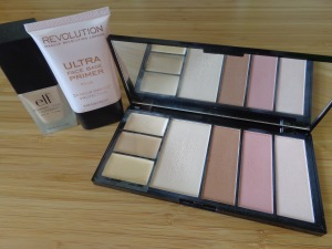 Face Products for travel: MUR primer, E.L.F. foundation and MUR protection palette.