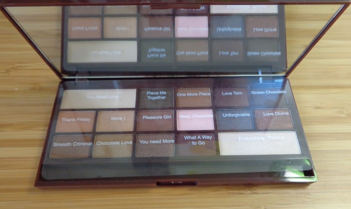 I Heart Chocolate Palette - shadow names