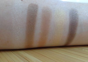 Neutral swatches (top to bottom, left to right: Looking out, Into the night, Into the light, Chameleons, Head over heals.