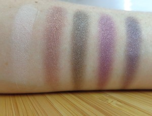 Purple swatches (left to right, top to bottom): Romantic Moments, Absorbed, Lover, First Kiss, Last Kiss.