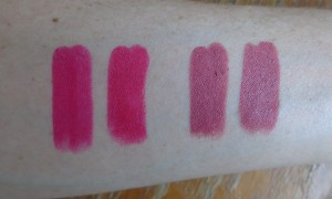 comparison swatches from left to right: Out of Sync (Back to Cool), I Heart This (permanent collection, Baewatch (Back to Cool), Lumiere (Kathleen Lights collaboration).