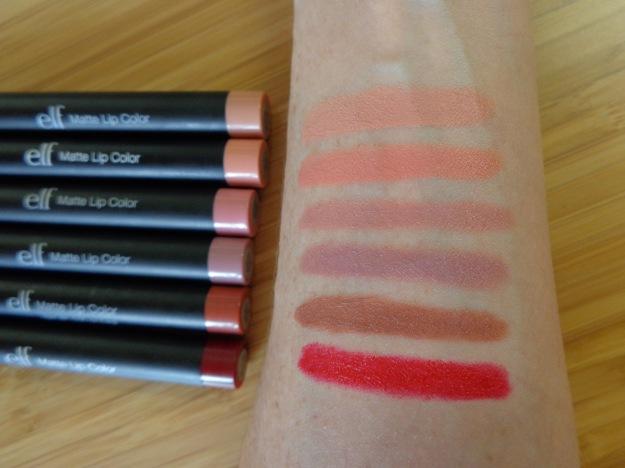 Matte lip colour swatches